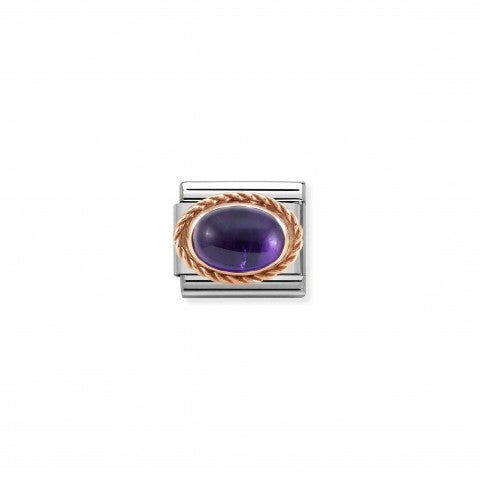 Composable_Classic_Link,_Rosegold_with_Amethyst_Coloured_Link_with_stone