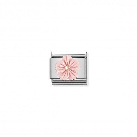 Link_Composable_Classic_Fleur_Pâte_de_Corail_Rose_Link_en_or_rose_375_et_Pâte_de_Corail_Rose_avec_symbole_floral_rose