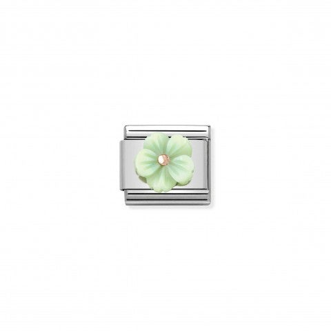 Composable_Classic_Mother_of_Pearl_Green_Flower_Link_Link_with_details_in_9K_rose_gold