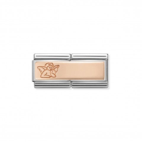Classic_Composable_Angel_Double_Link__9k_Rose_Gold_Link_with_Angel_Inscription