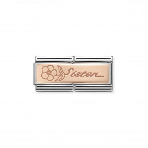 Composable_Classic_Double_Link_Sister_with_Flower_Rose_gold_link_with_inscription_and_flower