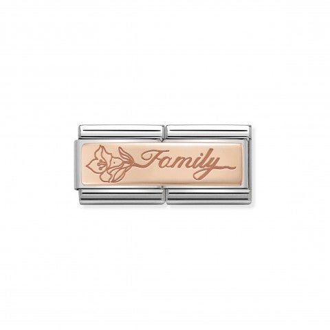 Composable_Classic_Double_Link_Family_with_Flower_Rose_gold_link_with_plaque_and_inscription