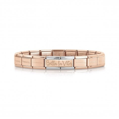 Composable_Bracelet_with_Bella_la_Vita_Double_Link_in_Rose_Gold_Special_Edition_30_Years_bracelet_in_steel_and_9K_rose_gold