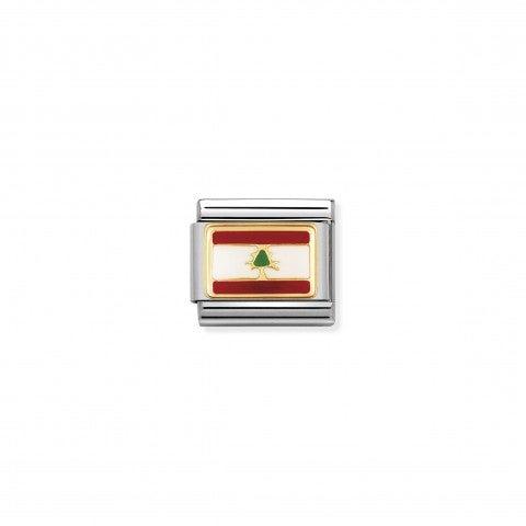 Link_Composable_Classic_Bandiera_Libano_Link_in_Acciaio_e_Oro750_con_la_bandiera_del_Libano
