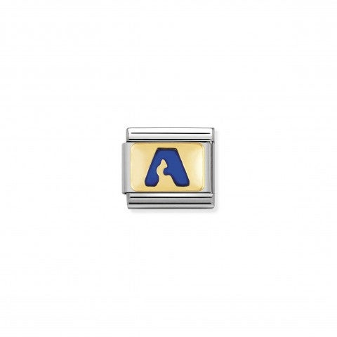 Composable_Classic_Link_letter_A_Blue_Link_with_initial_in_yellow_Gold_750_and_enamel