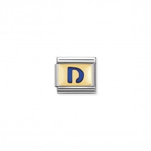 Link_Composable_Classic_Lettera_D_Blu_Link_con_iniziale_in_oro_750_con_smalto