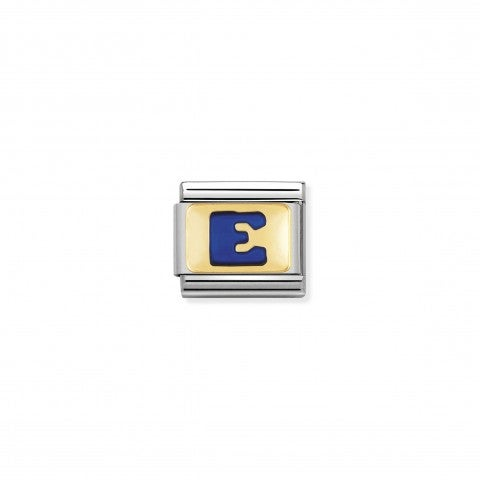 Composable_Classic_Link_letter_E_Blue_Link_with_initial_in_yellow_Gold_750_and_enamel