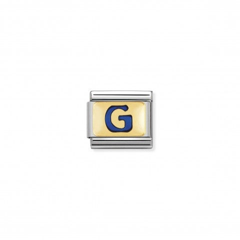 Link_Composable_Classic_Lettera_G_Blu_Link_con_iniziale_in_oro_750_con_smalto