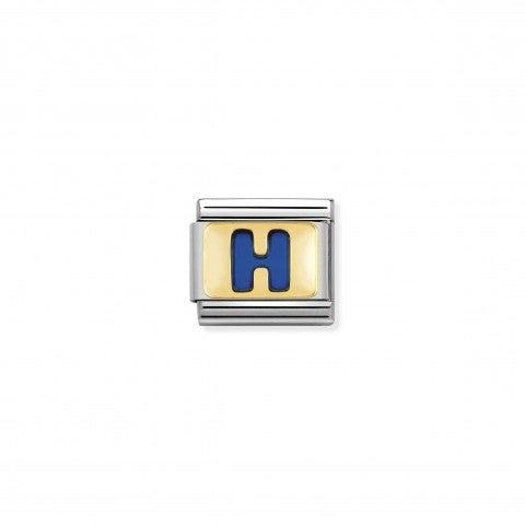 Link_Composable_Classic_Lettera_H_Blu_Link_con_iniziale_in_oro_750_con_smalto