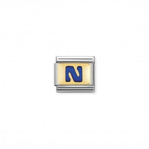 Link_Composable_Classic_Lettera_N_Blu_Link_con_iniziale_in_oro_750_con_smalto