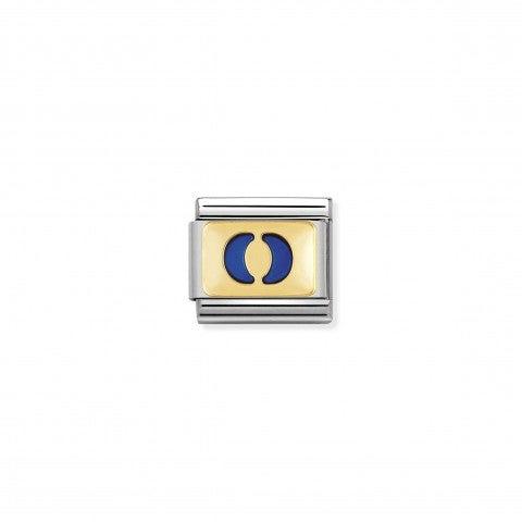 Link_Composable_Classic_Lettera_O_Blu_Link_con_iniziale_in_oro_750_con_smalto