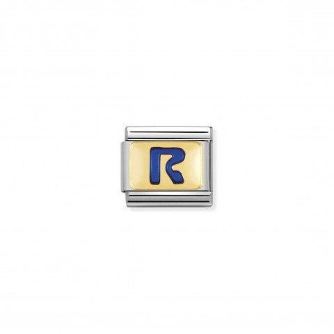 Link_Composable_Classic_Lettera_R_Blu_Link_con_iniziale_in_oro_750_con_smalto