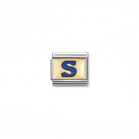 Link_Composable_Classic_Lettera_S_Blu_Link_con_iniziale_in_oro_750_con_smalto