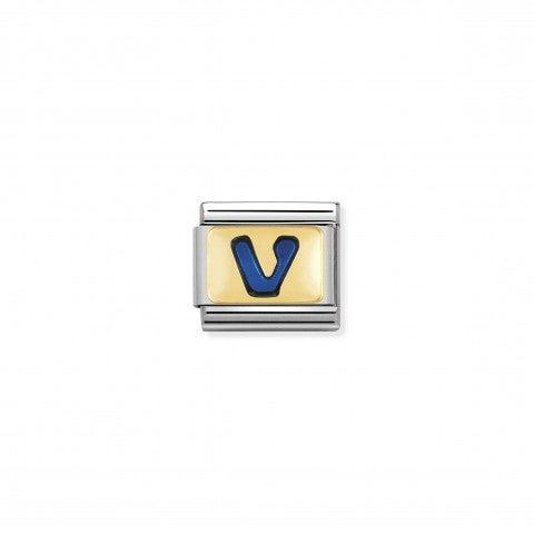 Link_Composable_Classic_Lettera_V_Blu_Link_con_iniziale_in_oro_750_con_smalto