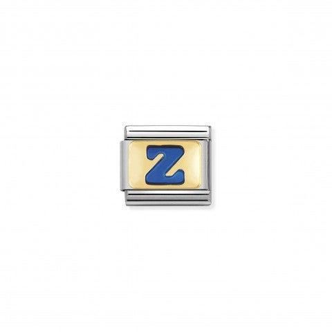 Link_Composable_Classic_Lettera_Z_Blu_Link_con_iniziale_in_oro_750_con_smalto