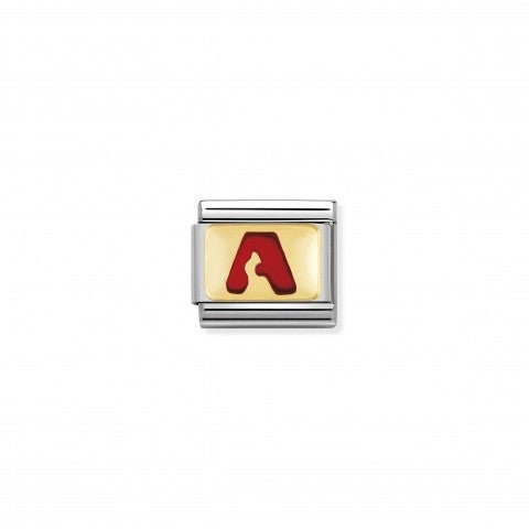 Composable_Classic_Link_letter_A_Red_Link_with_initial_in_yellow_Gold_750_and_enamel