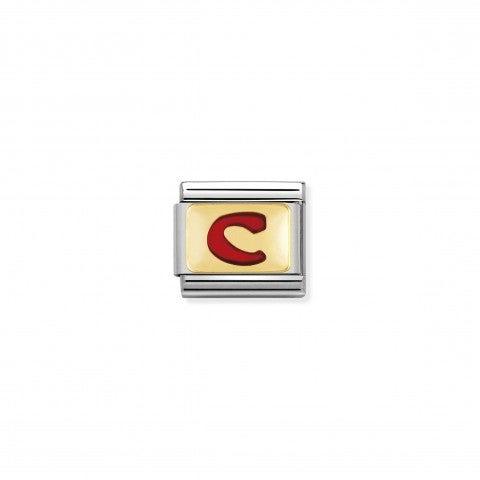Link_Composable_Classic_Lettera_C_Rosso_Link_con_iniziale_in_oro_750_con_smalto