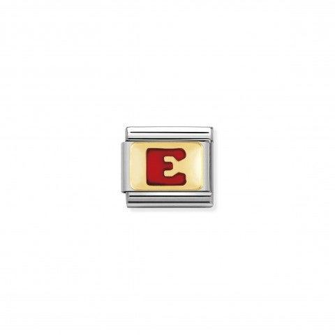 Link_Composable_Classic_Lettera_E_Rosso_Link_con_iniziale_in_oro_750_con_smalto