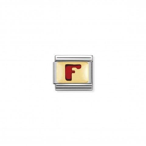 Link_Composable_Classic_Lettera_F_Rosso_Link_con_iniziale_in_oro_750_con_smalto