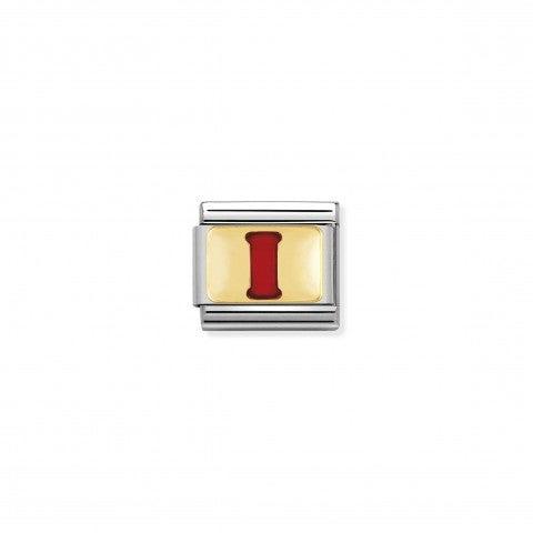 Link_Composable_Classic_Lettera_I_Rosso_Link_con_iniziale_in_oro_750_con_smalto
