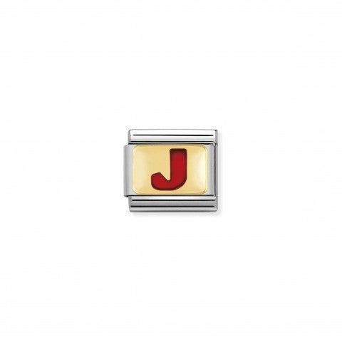Link_Composable_Classic_Lettera_J_Rosso_Link_con_iniziale_in_oro_750_con_smalto