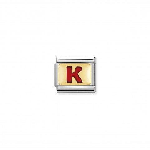 Link_Composable_Classic_Lettera_K_Rosso_Link_con_iniziale_in_oro_750_con_smalto