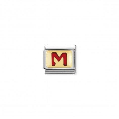 Link_Composable_Classic_Lettera_M_Rosso_Link_con_iniziale_in_oro_750_con_smalto