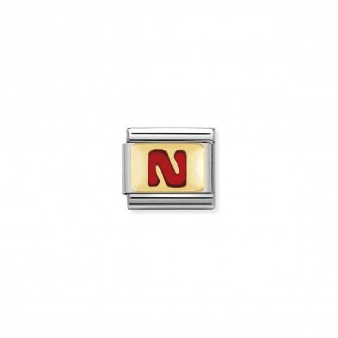 Link_Composable_Classic_Lettera_N_Rosso_Link_con_iniziale_in_oro_750_con_smalto