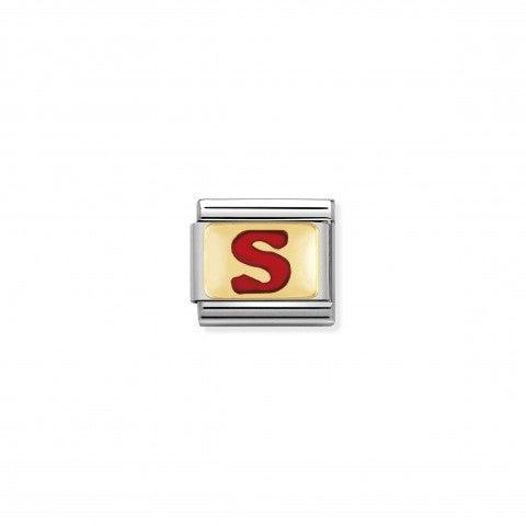 Link_Composable_Classic_Lettera_S_Rosso_Link_con_iniziale_in_oro_750_con_smalto
