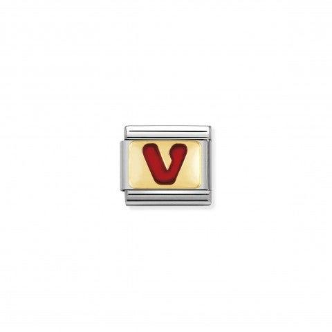 Link_Composable_Classic_Lettera_V_Rosso_Link_con_iniziale_in_oro_750_con_smalto