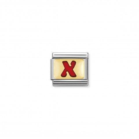 Link_Composable_Classic_Lettera_X_Rosso_Link_con_iniziale_in_oro_750_con_smalto