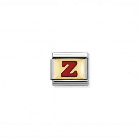Link_Composable_Classic_Lettera_Z_Rosso_Link_con_iniziale_in_oro_750_con_smalto