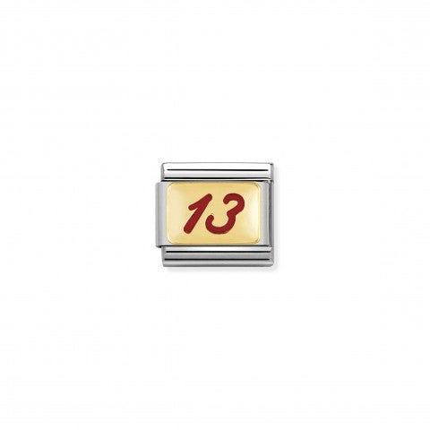 Link_Composable_Classic_Numero_13_rosso_Link_con_simbolo_fortunato_in_Acciaio_e_Oro750
