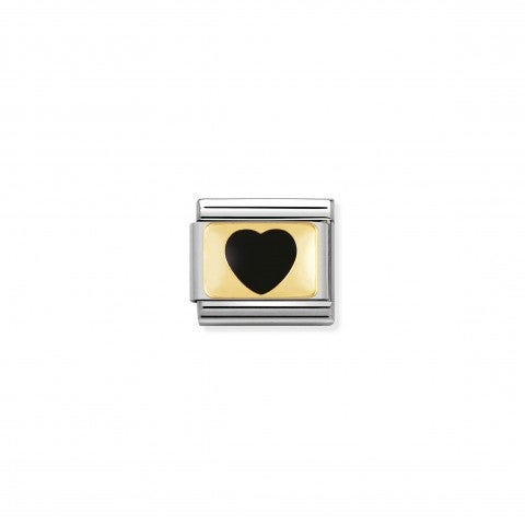 Composable_Classic_Link_black_Heart_with_Gold_Stainless_steel_and_enamel_coloured_Hearts_Link