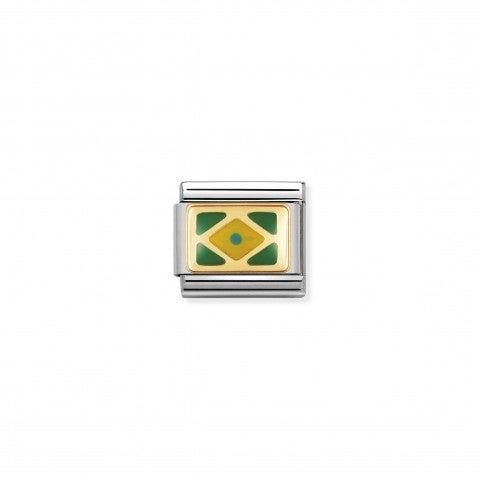 Link_Composable_Classic_Bandiera_Brasile_Link_con_bandiera_del_Brasile_in_Acciaio_e_Smalto