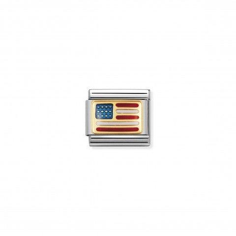 Link_Composable_Classic_Bandiera_USA_Link_in_Acciaio_e_Oro750_con_la_bandiera_americana
