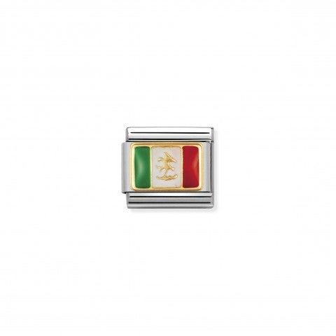 Link_Composable_Classic_Bandiera_Messico_Link_con_bandiera_messicana_in_Acciaio_e_Oro750