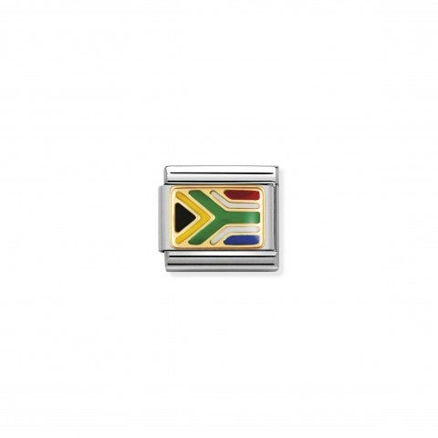 Link_Composable_Classic_Bandiera_Sud_Africa_Link_bandiera_africana_con_dettagli_in_Oro750
