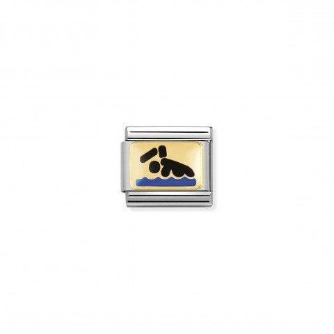 Link_Composable_Classic_Nuotatore_Link_con_simbolo_sportivo_in_Acciaio_e_Smalto_colorato