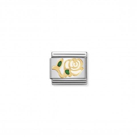 Link_Composable_Classic_Rosa_bianca_in_Oro750_Link_con_il_simbolo_della_rosa_in_fiore_in_Oro750