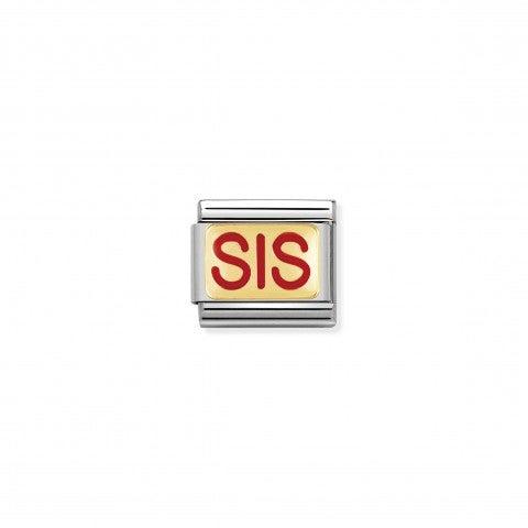 Link_Composable_Classic_scritta_SIS_Link_con_la_scritta_Sister_in_Acciaio_e_Oro750