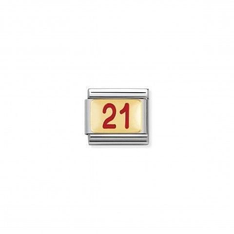 Link_Composable_Classic_numero_21_con_Smalto_Rosso_Link_con_numero_21_in_Acciaio_e_Smalto