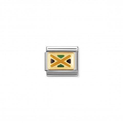 Link_Composable_Classic_Bandiera_Giamaica_Link_in_Oro750_e_Acciaio_con_la_bandiera_giamaicana