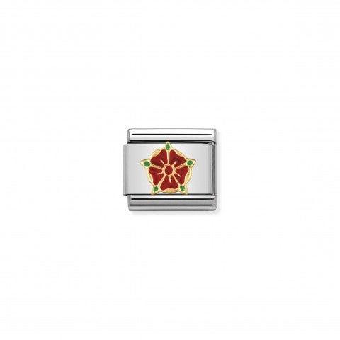 Link_Composable_Classic_Rosa_rossa_di_Lancaster_Link_con_simbolo_inglese_in_Acciaio_e_Smalto
