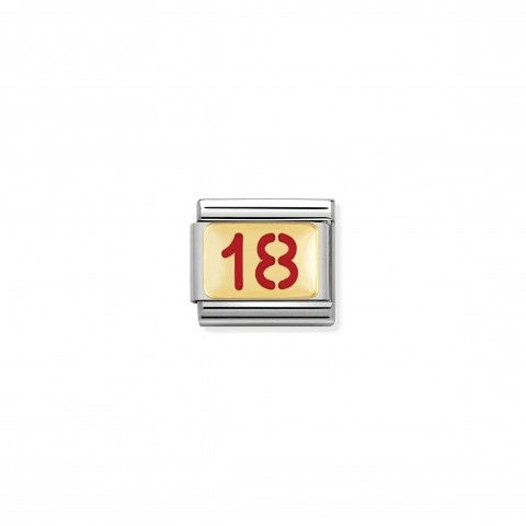 Composable_Classic_Link_Number_18_in_Gold_and_red_Enamel_Gold_and_enamel_Link_with_Birthday_Numbers