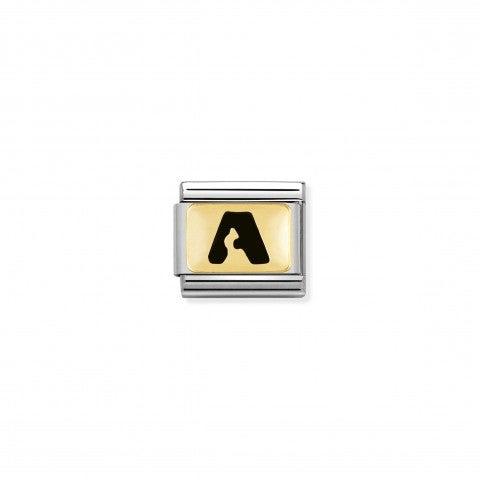 Link_Composable_Classic_Lettera_A_Nero_Link_con_iniziale_in_oro_750_con_smalto
