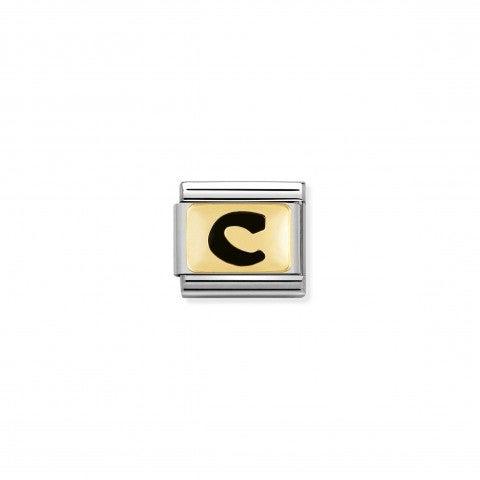 Link_Composable_Classic_Lettera_C_Nero_Link_con_iniziale_in_oro_750_con_smalto