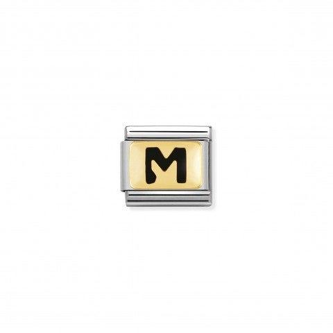 Link_Composable_Classic_Lettera_M_Nero_Link_con_iniziale_in_oro_750_con_smalto