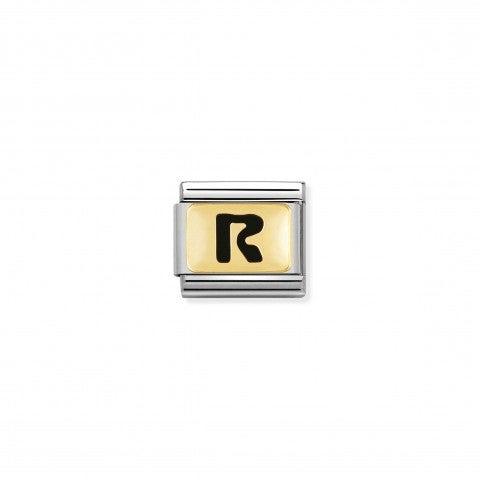 Link_Composable_Classic_Lettera_R_Nero_Link_con_iniziale_in_oro_750_con_smalto