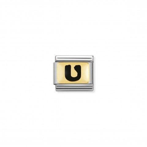 Link_Composable_Classic_Lettera_U_Nero_Link_con_iniziale_in_oro_750_con_smalto